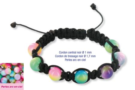 Shamballa avec perles en verre arc-en-ciel - Bijoux Shamballas – 10doigts.fr