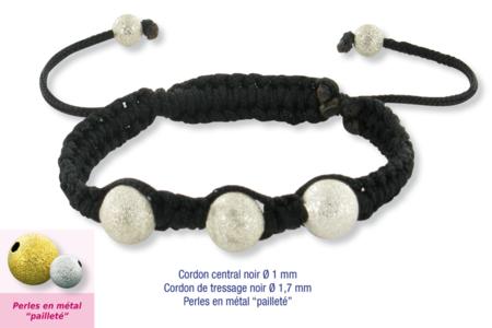 Shamballas... avec des perles en métal pailleté - Bracelets divers – 10doigts.fr