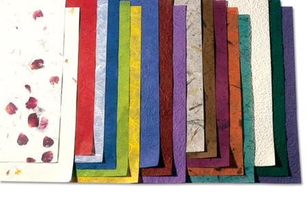 Papiers en fibres naturelles 23 x 33 cm - 18 feuilles - Papier artisanal naturel – 10doigts.fr