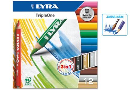 Crayons Lyra 3 en 1- Couleur, Cire et aquarellables - Crayons aquarelles – 10doigts.fr