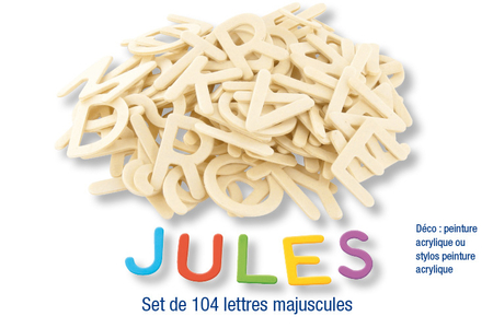 Lettres et chiffres en bois naturel - Motifs bruts – 10doigts.fr