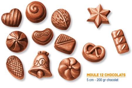 Moule chocolats - 12 motifs - Moules gourmandises – 10doigts.fr