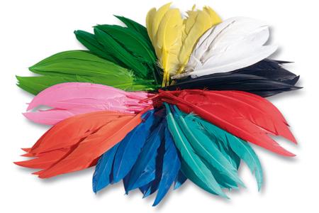 Plumes indiennes multicolores - Set d'environ 460 plumes - Plumes – 10doigts.fr