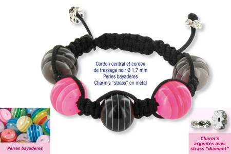 Shamballas... avec des perles bayadères et charm's strass en métal - Bijoux Shamballas – 10doigts.fr