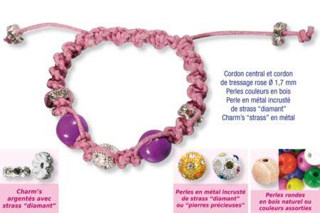 Shamballas... avec perles en bois + perles métal avec strass diamant + charm's strass en métal - Bijoux Shamballas - 10doigts.fr