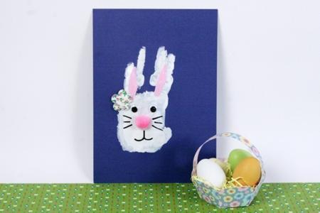 Lapin de Pâques empreinte de main - Pâques – 10doigts.fr