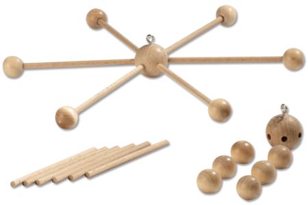 Support en bois pour mobile - 6 bras - Divers – 10doigts.fr