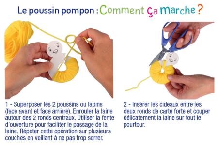 Lapin et poussin en pompons - Kit pour 2 réalisations - Kits activités Pâques – 10doigts.fr
