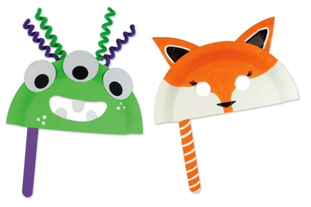 Fabriquer un masque avec une assiette en carton - Carnaval, fêtes, masques – 10doigts.fr