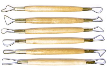 Mirettes assorties avec manches en bois - Set de 6 - Outils de Modelage – 10doigts.fr