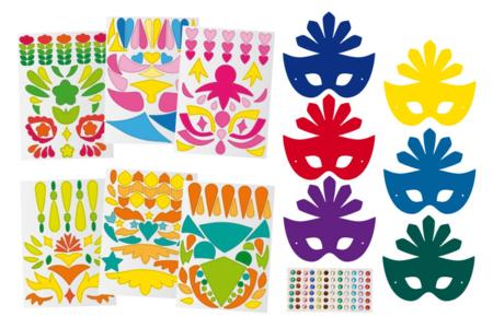 Kit de masques carnaval - Set de 6 - Mardi gras, carnaval – 10doigts.fr