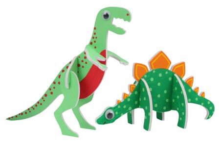 Dinosaures 3D en carton mousse à décorer - Set de 4 - Supports blancs – 10doigts.fr