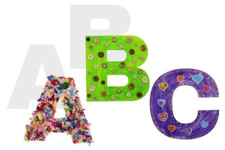 Lettres de l'alphabet en carte forte - 22 cm - Supports de Coloriages – 10doigts.fr