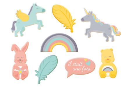 """Motifs """"Licorne & co"""" en bois décoré - Set de 8 - Motifs peint – 10doigts.fr"""