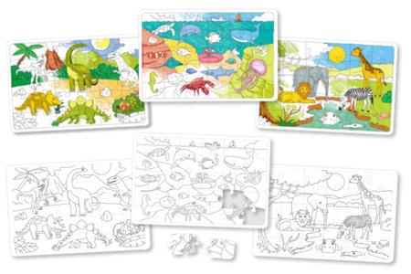 Puzzles en carton blanc à colorier - Lot de 3 - Puzzles à colorier, dessiner ou peindre – 10doigts.fr
