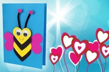 Carte abeille coeurs - Fête des Mères – 10doigts.fr