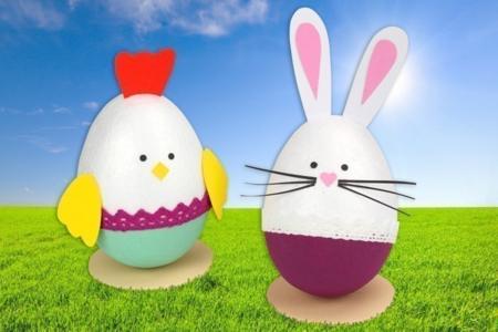Poule et lapin avec des oeufs en polystyrène - Pâques – 10doigts.fr