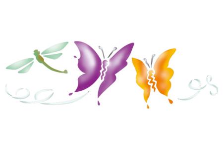 Pochoir frise Papillons - 15 x 40 cm - Pochoirs frises – 10doigts.fr