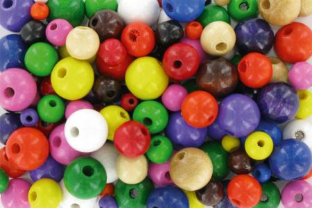 Perles rondes en bois couleurs assorties - Tailles au choix - Perles en bois – 10doigts.fr