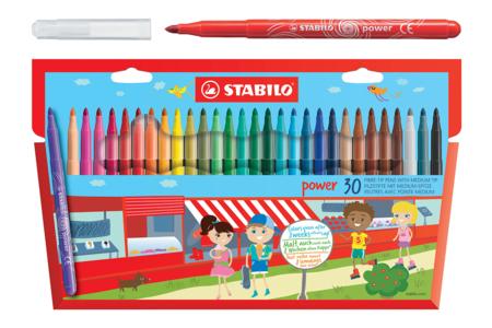 Feutres de coloriage Stabilo Power - 30 couleurs - Feutres pointes moyennes – 10doigts.fr