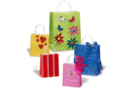 Sacs en kraft - blancs ou couleurs assorties - Papiers Cadeaux – 10doigts.fr