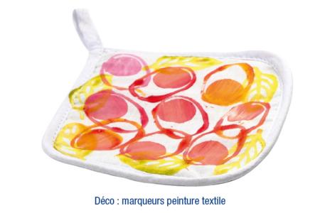 Manique de cuisine en coton blanc surpiqué - Coton, lin – 10doigts.fr