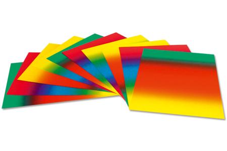 Cartes Arc-en-ciel en dégradé de couleur - Set de 10 - Papiers à effets – 10doigts.fr