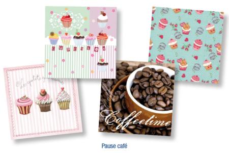 """Set de 12 Serviettes """"Pause Café"""" - 10doigts.fr"""