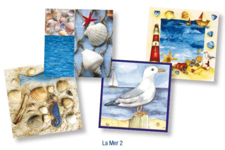 "Set de 12 serviettes ""La Mer 2"" - 10doigts.fr"