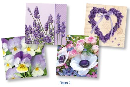 """Set de 12 serviettes """"Fleurs 2"""" - 10doigts.fr"""