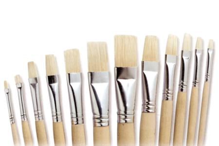 Pinceaux brosses plates en soie blanche - Brosses – 10doigts.fr