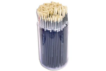 Pinceaux en poils de soie de porc - Tube de 144 pinceaux - Brosses – 10doigts.fr