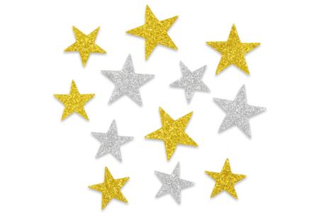 Etoiles adhésives caoutchouc mousse pailleté - 72 stickers - Gommettes et stickers Noël – 10doigts.fr