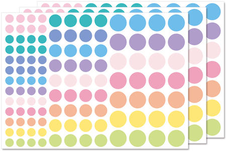 Gommettes rondes Pastel - 3 planches - Décorations Licorne et Arc-en-ciel – 10doigts.fr