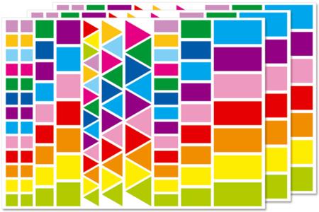 Gommettes géométriques, couleurs vives - 3 planches - Gommettes Carrées – 10doigts.fr