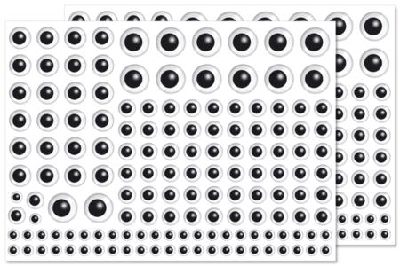 Gommettes yeux noirs - 296 yeux - Gommettes Yeux et Visages – 10doigts.fr
