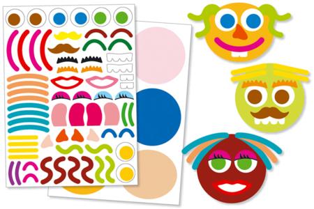 Gommettes 6 visages fantaisie - Gommettes Géantes – 10doigts.fr