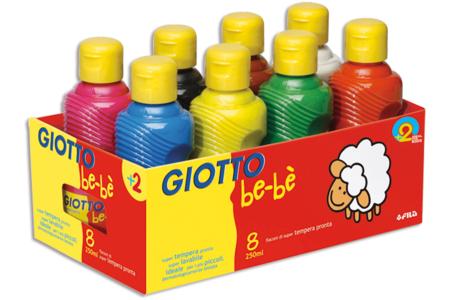 Gouaches Giotto Bé-bé - Set de 8 couleurs - Peinture gouache liquide – 10doigts.fr