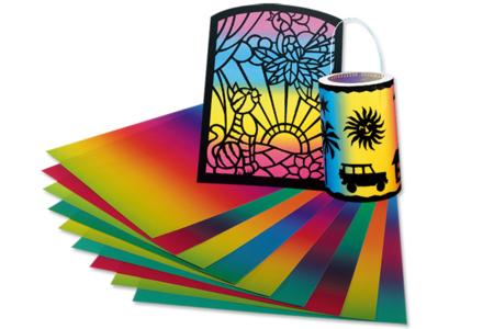 Papier translucide arc-en-ciel - 10 feuilles 22 x 32 cm - Papier Vitrail – 10doigts.fr