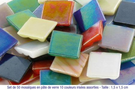 Mosaïques en pâte de verre irisées - 50 facettes assorties - Mosaïques pâte de verre – 10doigts.fr