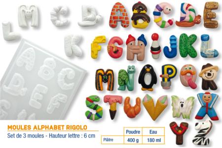 Moules alphabet rigolo - Set de 3 plaques - Moules pour plâtre, savon, béton ... – 10doigts.fr