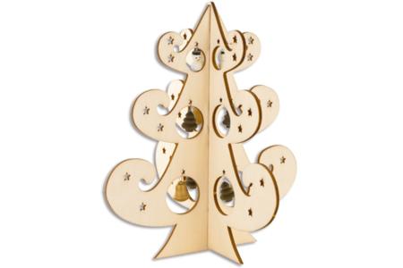 Sapin en bois ajouré et miniatures suspendues - Noël – 10doigts.fr