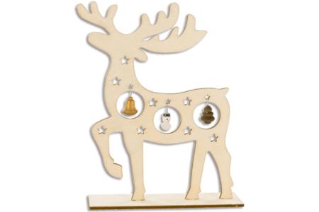 Renne en bois et miniatures en suspension - Décorations de Noël en bois – 10doigts.fr