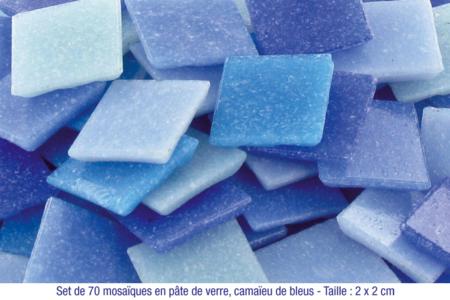Mosaïques en pâte de verre, en camaïeu de couleurs bleues - Mosaïques pâte de verre – 10doigts.fr