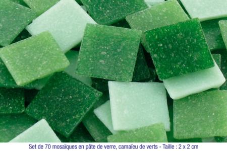Mosaïques en pâte de verre, en camaïeu de couleurs vertes - Mosaïques pâte de verre – 10doigts.fr