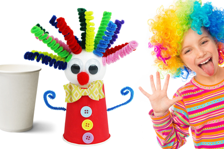 Fabriquer un clown rigolo avec un gobelet en carton - Tutos Carnaval – 10doigts.fr