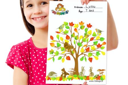 Arbre d'automne à décorer avec des gommettes - Activités enfantines – 10doigts.fr