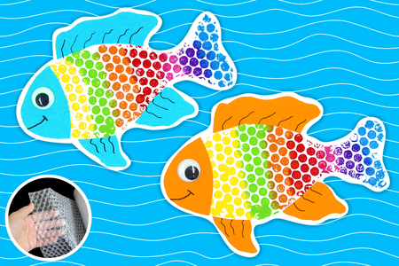 Peinture papier bulle : poisson arc-en-ciel - Activités enfantines - 10doigts.fr