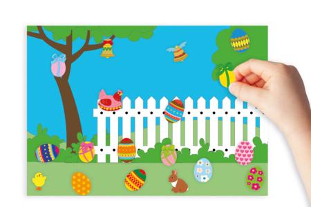 Coloriage de Pâques : La chasse aux œufs - Pâques - 10doigts.fr