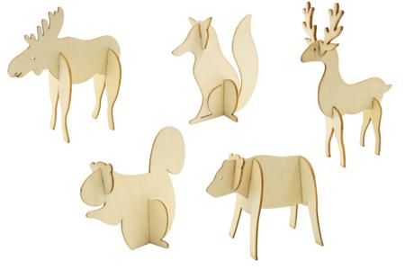 Animaux de la forêt en bois à monter - Set de 5 - Animaux en bois à décorer – 10doigts.fr